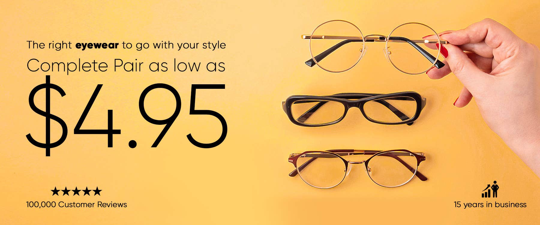 Complete pair of eyeglasses for just $4.95