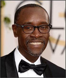Don Cheadle wearing Glasses at Golden Globe Awards