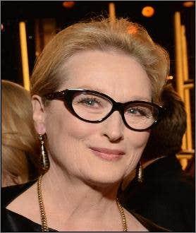 Meryl Streep wearing glasses at Golden Globe Awards
