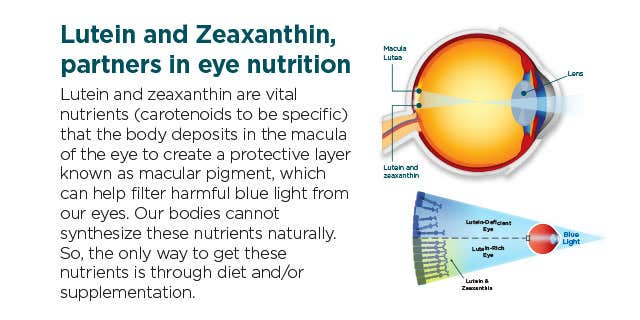 Eye Benefits from Lutein and Zeaxanthin