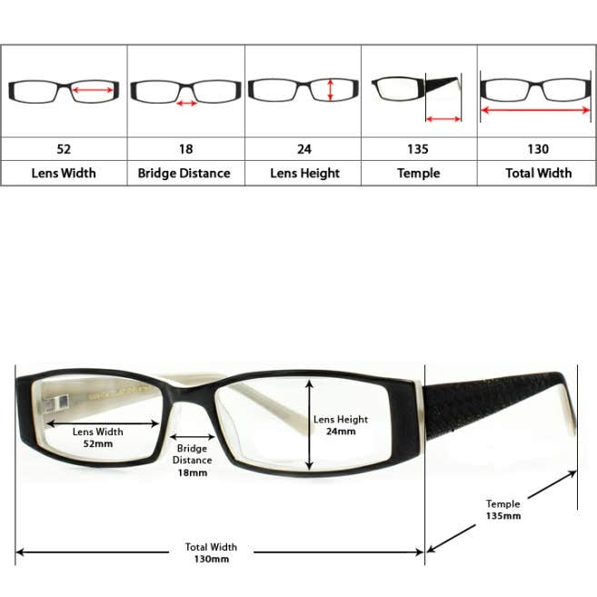 Understanding Glasses Frame Measurements : Eyeglasses Frames - Over 5000+ Styles at Goggles4u