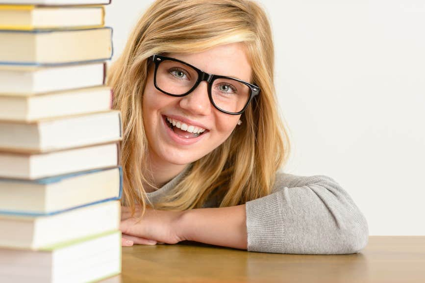 bookworm students eyeglasses