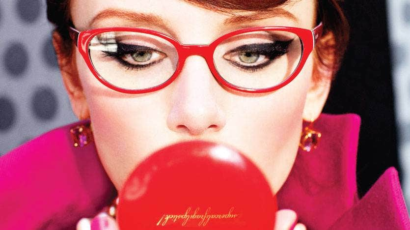 red eyeglass frame